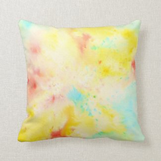 Watercolor Abstract Pastel Pattern Pillow