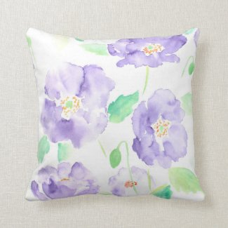 Watercolor blue poppy Cushion Pillows