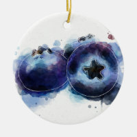 Watercolor Blueberries Double-Sided Ceramic Round Christmas Ornament