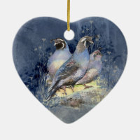 Watercolor California Quail Bird in Blue Double-Sided Heart Ceramic Christmas Ornament