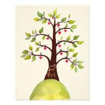 Watercolor Spring Green Monogram Tree Wedding Card