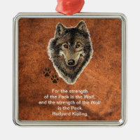 Watercolor Wolf Track Family Quote by Kipling Square Metal Christmas Ornament