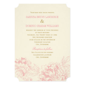 Wedding Invitation | Pink Floral Peony Design