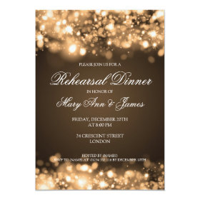 Wedding Rehearsal Dinner Sparkling Lights Gold 5x7 Paper Invitation Card