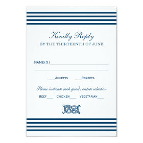 Wedding RSVP Card | Nautical Stripes Theme
