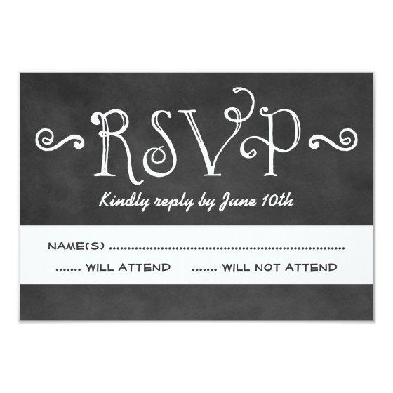 Wedding RSVP Postcard | Black Chalkboard Charm