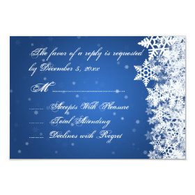 Wedding RSVP Winter Snowflakes Blue Sapphire 3.5x5 Paper Invitation Card