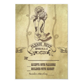 western country wedding RSVP 3.5x5 Paper Invitation Card