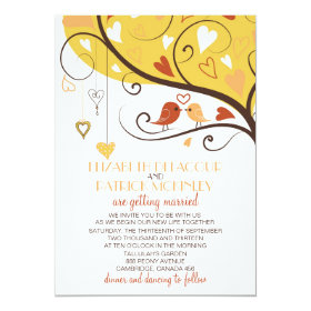 Whimsical Autumn Lovebirds Wedding Invitation