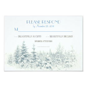White winter wedding RSVP cards