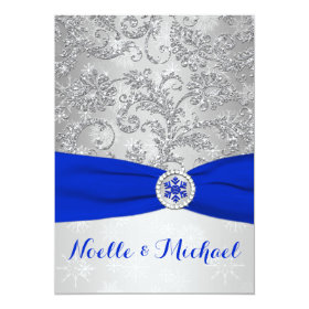 Winter Wonderland Wedding | Crystal Buckle | Blue 5x7 Paper Invitation Card