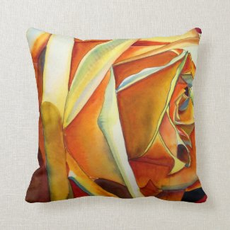 Yellow Rose original watercolor art flower Throw Pillows