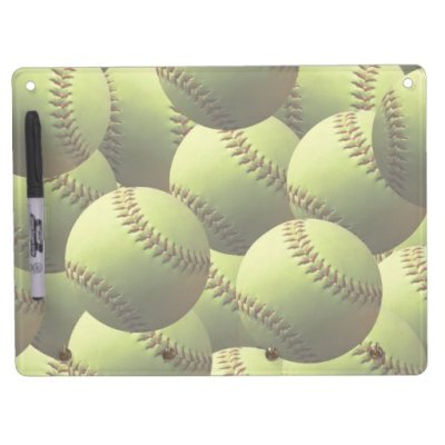 Yellow Softball Wallpaper Dry Erase Whiteboard | Zazzle