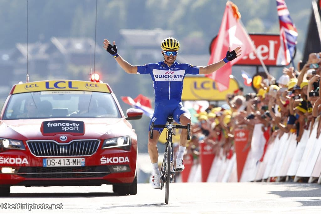 Tour de France 2018 Stage 10   Road Bike Action Tour de France 2018   105th Edition   10th stage Annecy   Le Grand Bornand  159 km   17 07 2018   Julian Alaphilippe  FRA   QuickStep   Floors    photo  Luca