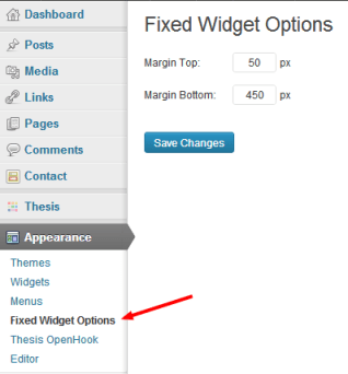 Fixed Widget Options
