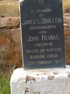 Headstones at Barrow Creek Telegraph Station.