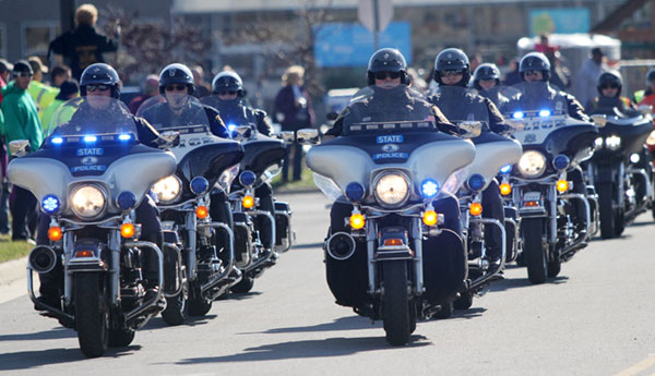 Start of the annual Toys for Tots ride before Christmas.
