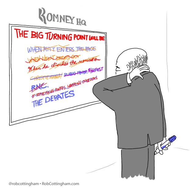 """Cartoon: Romney campaign strategist staring at whiteboard that reads """"The Big Turning Point Will Be""""."""