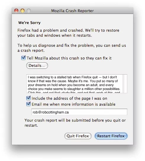 My crash report to Mozilla (includes text below)