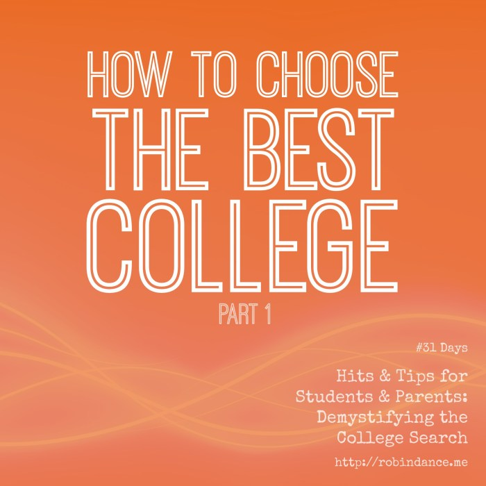How to choose the best college - Part 1 - by Robin Dance for 31Days