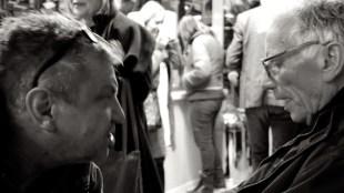 Hans van Marwijk - Rob Scholte met Siet tijdens opening Stripped  bare van Siet Zuyderland bij IJssalon Aris Laan te Den Helder