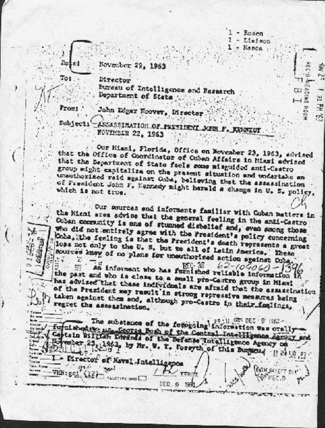FBI director J. Edgar Hoover wrote this memo 5 days after the assassination, naming George Bush as a CIA officer