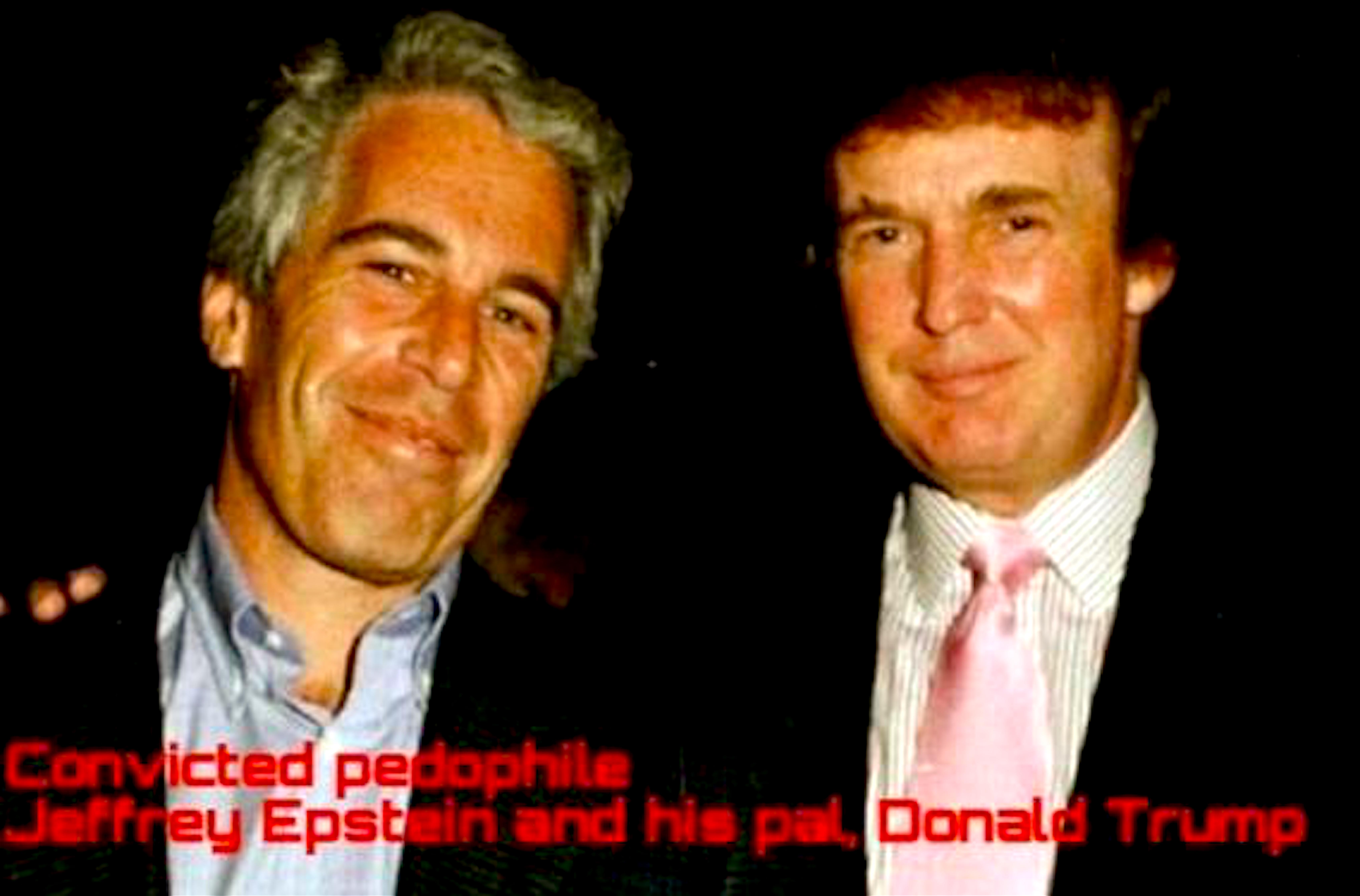 Convicted pedophile Jefferey Epstein and his pal Donald Trump (foto Tom Heneghan Briefings)