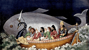 Matsya protecting Svayambhuva Manu and the seven sages at the time of Deluge (foto Ancient Origins)