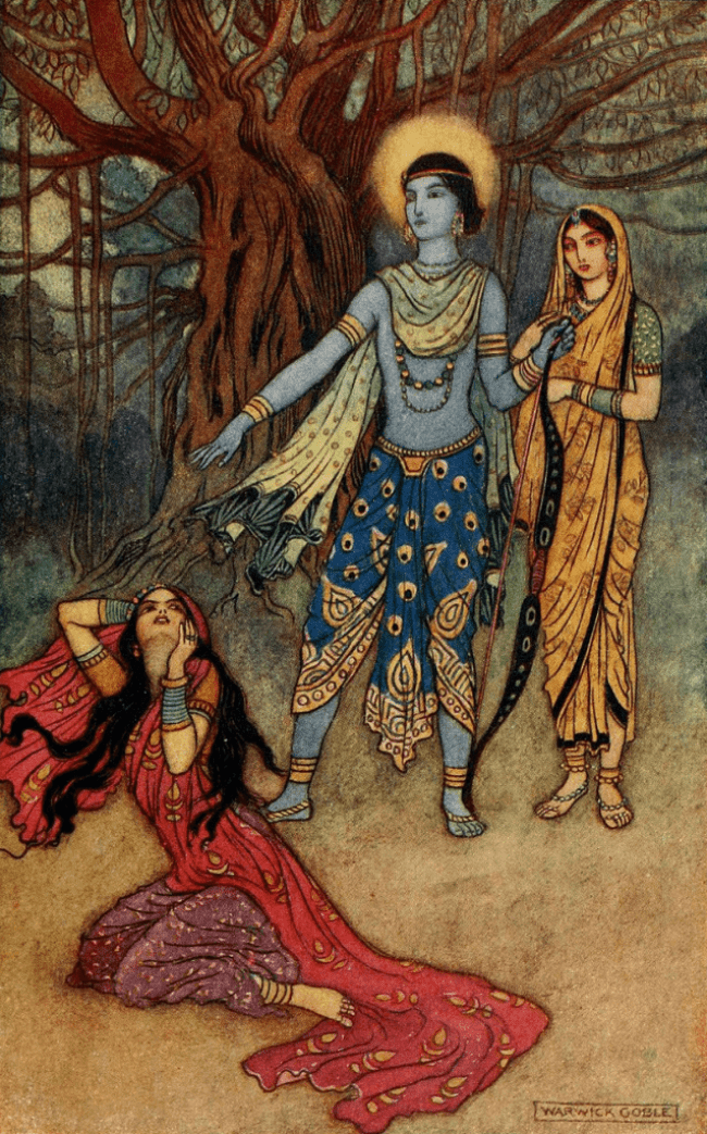 Warwick Goble - Suparnakha (Ravana's sister, Suparnakha attempts to seduce Rama and cheat on Sita, he refuses and spurns her, foto Wikipedia)