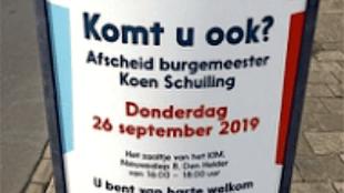 Komt u ook? Het afscheid van burgemeester Koen Schuiling (foto HMC)