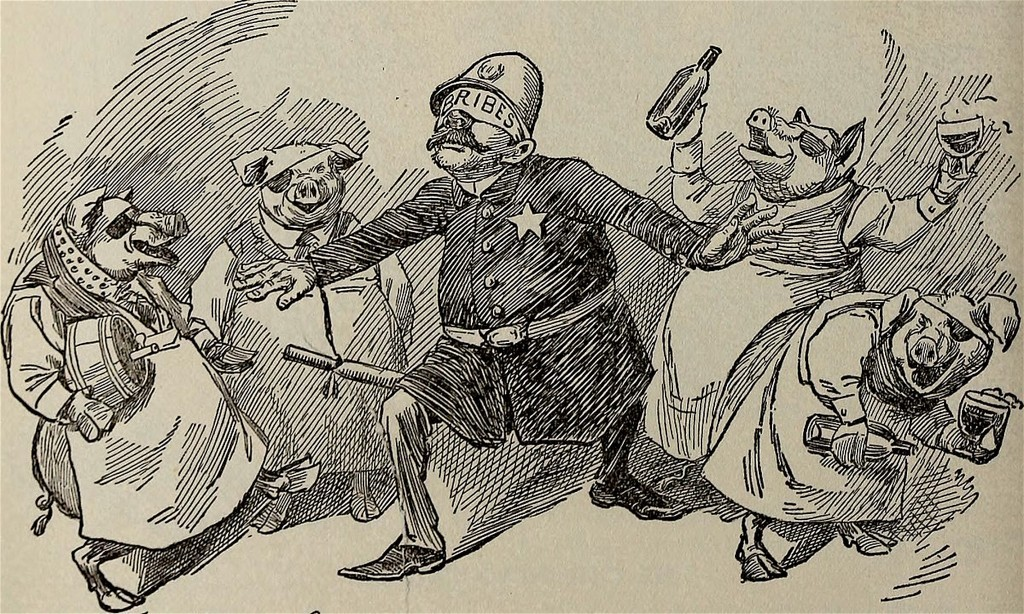 "A 1902 cartoon depicts a police officer whose eyes are covered with a cloth labelled ""bribes"", so he cannot see the offenses around him (foto The Ram's Horn/Wikipedia)"