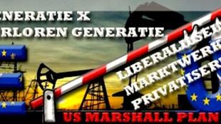 Generatie X | De Verloren Generatie | Liberalisering | Marktwerking | Privatisering | US Marshall Plan (foto World The Changes | Van Democratie naar Politiestaat!)