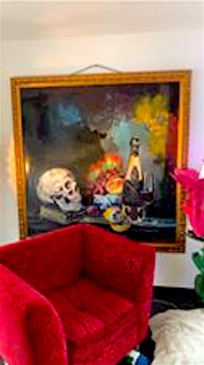Peter Klashorst schilderij bij Japie Holtzapffel thuis (foto Facebook)