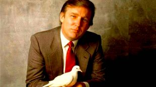Donald Trump in the 80's holding a dove on the cover of Time Magazine aspiring to negotiate peace between Israel and Palestine (foto Time)