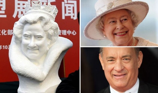 This bust of the queen was widely reported to look like Tom Hanks (foto Before It's News)