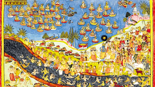 Ram, the avatar of Vishnu prepares to ascend to heaven, and immerses himself in the waters of the Sarayu, the people of Ayodhya follow suit, in the hope of attaining moksha (foto Roli Books)