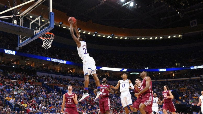 Wiggins soars for a dunk. Photo by George Mullinix.