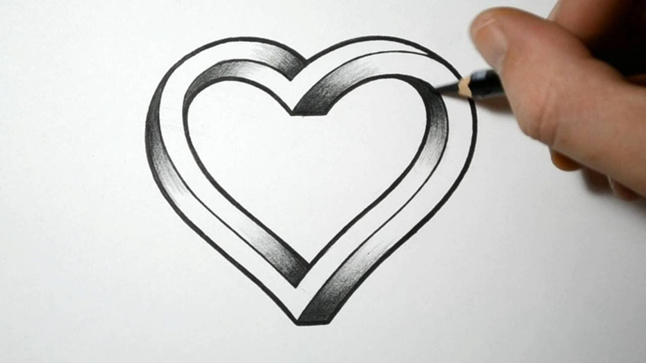 Tutorial How To Draw 3d Heart Step By Step For Beginners