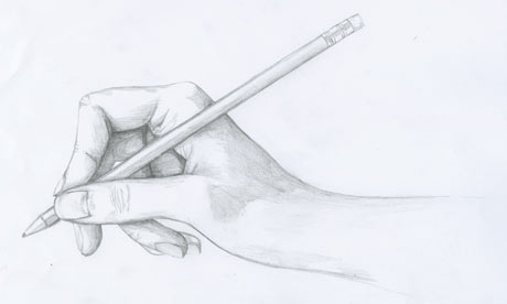 How to draw hand holding a pencil step by step easy for ...