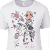 KVIS-100008 Let's Go For a Ride Motorcycle Inspired Girls T-Shirt