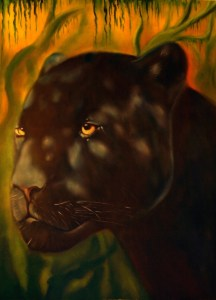 Ix Och Khan is a cry from the spirit world through the agent of an endangered species. Oil on canvas 36 inches by 38 inches 2008.