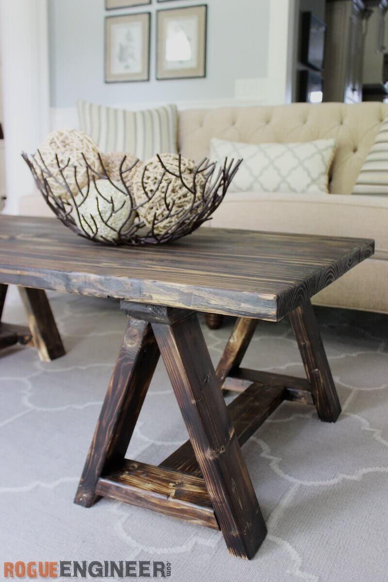 sawhorse coffee table free diy plans rogue engineer. Black Bedroom Furniture Sets. Home Design Ideas