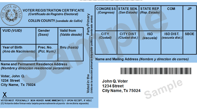 Sample Voter Reg Card DL