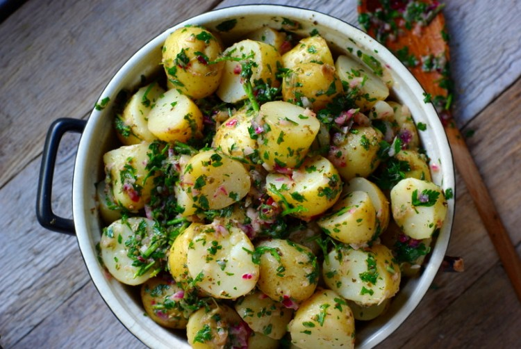 New potatoes with herby green dressing