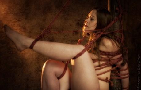 Clover Shibari suspension bondage on vertical post