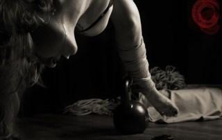 Gorgone Semi Nawa session. Rope torture in shibari bondage.