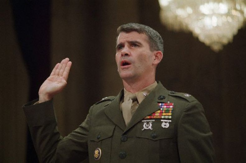 07 Jul 1987, Washington, DC, USA --- 7/7/1987 - Washington DC: Oliver North is sworn in on his first day of testimony at the Iran Contra hearings. UPI color slide of PH: L. Mark --- Image by © Bettmann/CORBIS