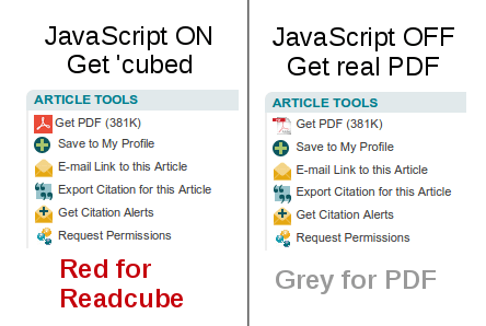 Before (left) and After (right) disabling JavaScript on the page.