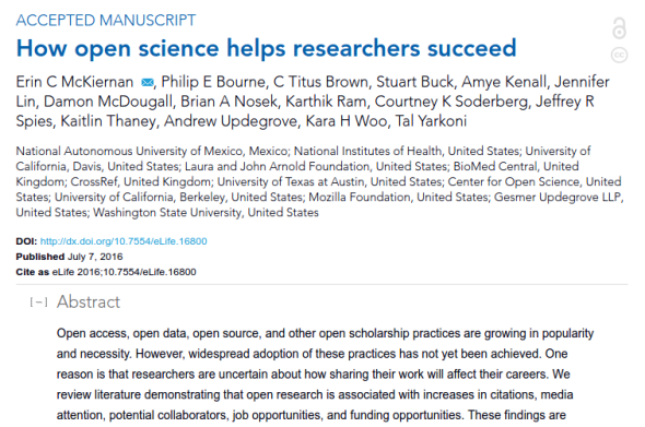 screenshot of the 'How open science helps researchers succeed' paper