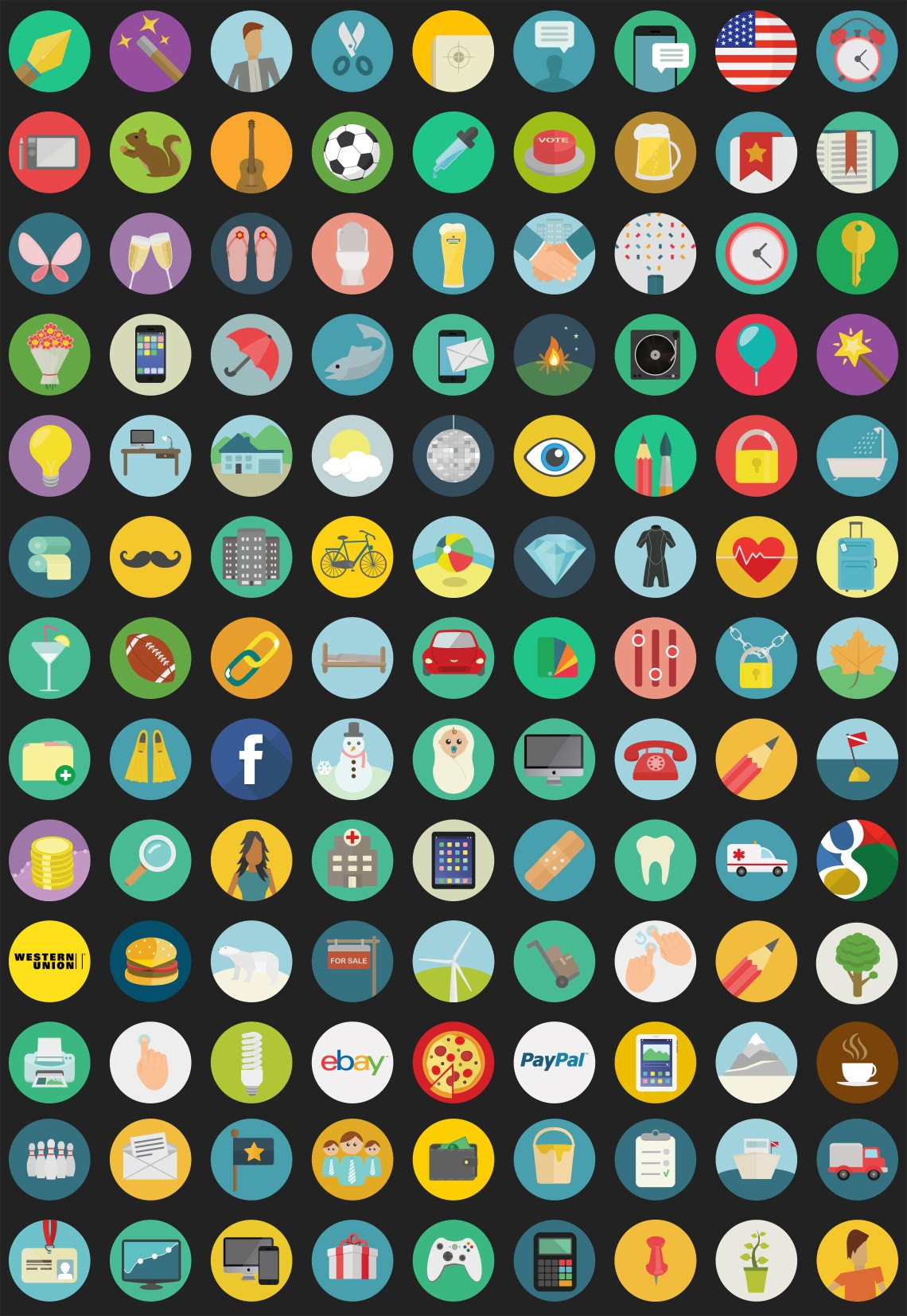 royalty free flat icons set
